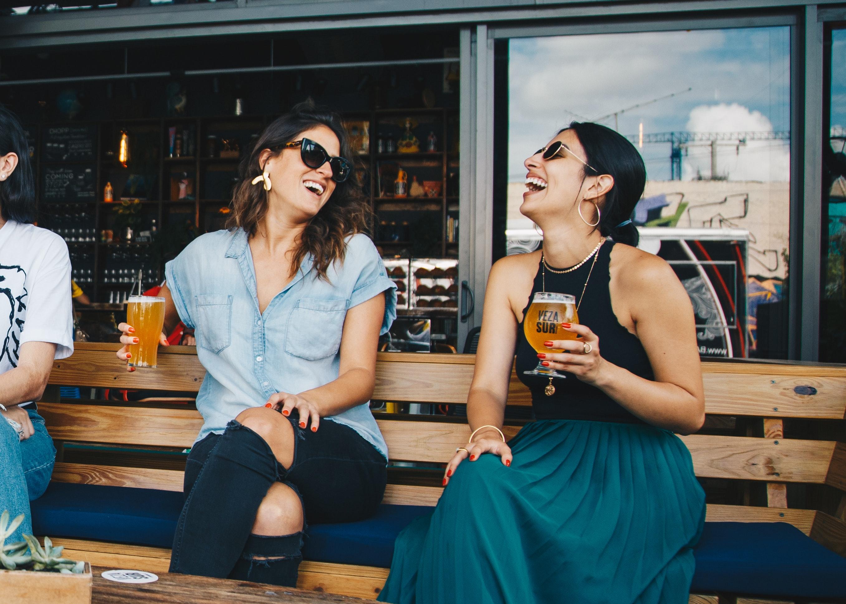 Two women having beers